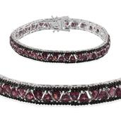 Jewel Studio by Shweta Orissa Rhodolite Garnet, Thai Black Spinel Platinum Over Sterling Silver Bracelet (7.50 In) TGW 14.000 cts.