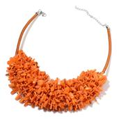 Orange Shell Silvertone Bib Necklace with Fabric Collar (18-22 in)