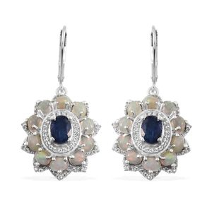 Himalayan Kyanite, Ethiopian Welo Opal, White Topaz Platinum Over Sterling Silver Lever Back Earrings TGW 5.28 Cts.