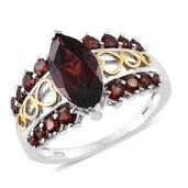 Mozambique Garnet 14K YG and Platinum Over Sterling Silver Ring (Size 8.0) TGW 4.53 cts.