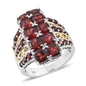 Mozambique Garnet 14K YG and Platinum Over Sterling Silver Ring (Size 7.0) TGW 8.610 cts.