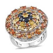 Multi Sapphire 14K YG and Platinum Over Sterling Silver Ring (Size 6.0) TGW 4.950 cts.