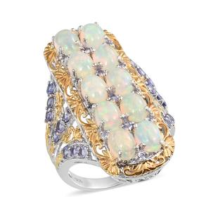Ethiopian Welo Opal, Tanzanite 14K YG and Platinum Over Sterling Silver Ring (Size 7.0) TGW 7.840 cts.