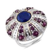 SUGAR by Gay Isber Lapis Lazuli, Orissa Rhodolite Garnet 14K YG and Platinum Over Sterling Silver Statement Ring (Size 11.0) TGW 7.900 cts.