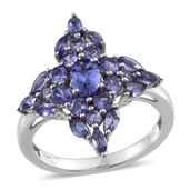 Tanzanite (3A) Platinum Over Sterling Silver Ring (Size 8.0) TGW 2.960 cts.