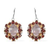 Galilea Rose Quartz, Mozambique Garnet 14K YG and Platinum Over Sterling Silver Lever Back Earrings TGW 30.050 cts.