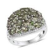 Bohemian Moldavite, Russian Diopside, White Topaz Platinum Over Sterling Silver Openwork Cluster Ring (Size 6.0) TGW 5.600 cts.