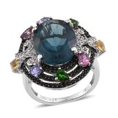Blue Fluorite, Multi Gemstone Platinum Over Sterling Silver Ring (Size 9.0) TGW 14.52 cts.