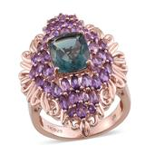 Blue Fluorite, Amethyst 14K RG Over Sterling Silver Elongated Ring (Size 6.0) TGW 7.77 cts.