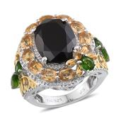 Thai Black Spinel, Brazilian Citrine, Russian Diopside 14K YG and Platinum Over Sterling Silver Openwork Ring (Size 6.0) TGW 10.58 cts.