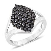 Black Diamond (IR) Platinum Over Sterling Silver Ring (Size 7.0) TDiaWt 1.32 cts, TGW 1.32 cts.