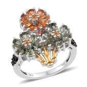 Multi Gemstone 14K YG and Platinum Over Sterling Silver Ring (Size 6.0) TGW 4.893 cts.