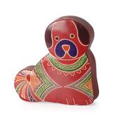 Multi Color Genuine Leather Hand Painted Dog Money Bank