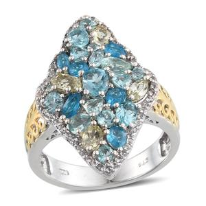 Multi Color Apatite 14K YG and Platinum Over Sterling Silver Elongated Ring (Size 8.0) TGW 4.568 cts.