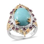 Sonoran Blue Turquoise, Ruby 14K YG and Platinum Over Sterling Silver Ring (Size 9.0) TGW 8.900 cts.