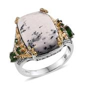 Dendritic Agate, Russian Diopside, White Topaz 14K YG and Platinum Over Sterling Silver Ring (Size 8.0) TGW 11.020 cts.