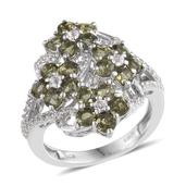 Bohemian Moldavite, White Topaz Platinum Over Sterling Silver Floral Cluster Ring (Size 8.0) TGW 2.680 cts.