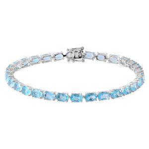 Espirito Santo Aquamarine Sterling Silver Bracelet (7.25 In) TGW 11.650 cts.