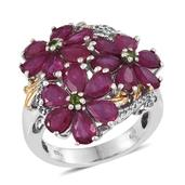 Niassa Ruby, Russian Diopside, White Topaz 14K YG and Platinum Over Sterling Silver Floral Ring (Size 8.0) TGW 8.290 cts.