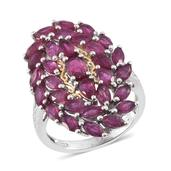 Niassa Ruby 14K YG and Platinum Over Sterling Silver Ring (Size 6.0) TGW 6.87 cts.
