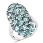 Madagascar Paraiba Apatite Platinum Over Sterling Silver Ring (Size 8.0) TGW 8.290 cts.