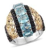 Madagascar Paraiba Apatite, Thai Black Spinel 14K YG and Platinum Over Sterling Silver Ring (Size 9.0) TGW 7.040 cts.