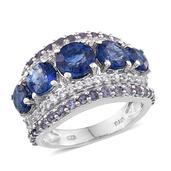 Himalayan Kyanite, Catalina Iolite, White Topaz Platinum Over Sterling Silver 5 Stone Ring (Size 8.0) TGW 7.060 cts.