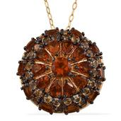 GP Santa Ana Madeira Citrine, Multi Gemstone 14K YG Over Sterling Silver Pendant With Chain (20 in) TGW 5.580 cts.