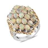 Ethiopian Welo Opal, Tanzanite 14K YG and Platinum Over Sterling Silver Ring (Size 10.0) TGW 5.95 cts.