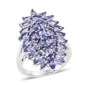 Tanzanite, White Zircon Platinum Over Sterling Silver Elongated Cluster Split Ring (Size 8.0) TGW 7.850 cts.