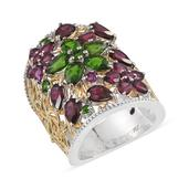 Royal Jaipur Orissa Rhodolite Garnet, Ruby, Russian Diopside 14K YG and Platinum Over Sterling Silver Openwork Elongated Knuckle Ring (Size 7.0) TGW 8.670 cts.