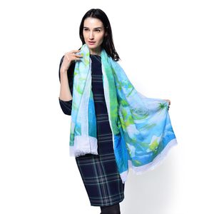 J Francis - Blue and Green 100% Viscose Scarf (72x35 in)