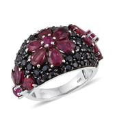 Niassa Ruby, Ruby, Thai Black Spinel Platinum Over Sterling Silver Floral Cluster Ring (Size 6.0) 0 TGW 7.28 cts.