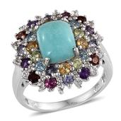 Sonoran Blue Turquoise, Multi Gemstone Platinum Over Sterling Silver Ring (Size 9.0) TGW 5.410 cts.