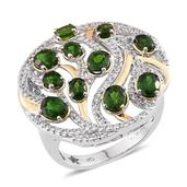 GP Russian Diopside, Multi Gemstone 14K YG and Platinum Over Sterling Silver Ring (Size 6.0) TGW 4.720 cts.