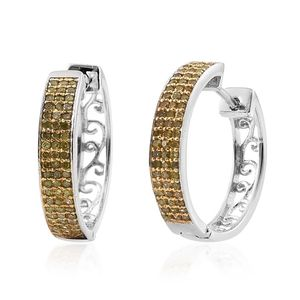 Yellow Diamond (IR) 14K YG and Platinum Over Sterling Silver Huggie Hoop Earrings TDiaWt 0.50 cts, TGW 0.50 cts.
