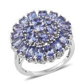 Tanzanite Platinum Over Sterling Silver Cluster Ring (Size 9) TGW 6.060 cts.