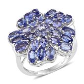 Tanzanite Platinum Over Sterling Silver Floral Statement Ring (Size 7.0) TGW 5.70 cts.
