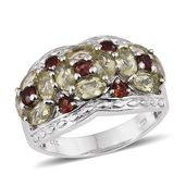 Canary Apatite, Mozambique Garnet Platinum Over Sterling Silver Ring (Size 7.0) TGW 3.54 cts.