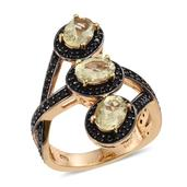 Canary Apatite, Thai Black Spinel 14K YG Over Sterling Silver Trilogy Bypass Ring (Size 7.0) TGW 3.630 cts.