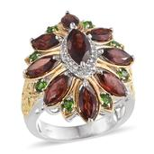 Mozambique Garnet, Russian Diopside, White Topaz 14K YG and Platinum Over Sterling Silver Ring (Size 8.0) TGW 7.240 cts.
