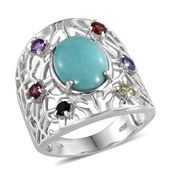 Sonoran Blue Turquoise, Multi Gemstone Platinum Over Sterling Silver Ring (Size 7.0) TGW 6.060 cts.