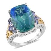 Peacock Quartz, Tanzanite 14K YG and Platinum Over Sterling Silver Ring (Size 8.0) TGW 14.970 cts.