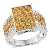 Yellow Diamond (IR), Diamond Platinum Over Sterling Silver Ring (Size 8.0) TDiaWt 0.99 cts, TGW 0.985 cts.