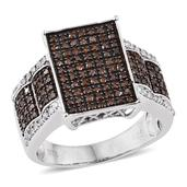 Red Diamond (IR), Diamond Platinum Over Sterling Silver Ring (Size 10.0) TDiaWt 0.99 cts, TGW 0.985 cts.