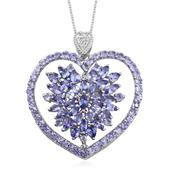 Tanzanite, White Topaz Platinum Over Sterling Silver Heart Pendant With Chain (20 in) TGW 6.292 cts.