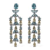Madagascar Paraiba Apatite, Yellow Apatite Platinum Over Sterling Silver Chandelier Earrings TGW 9.25 cts.