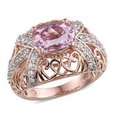 Kunzite, White Zircon 14K RG Over Sterling Silver Openwork Ring (Size 6.0) TGW 3.800 cts.