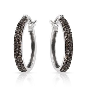 Certified Champagne Diamond Platinum Over Sterling Silver Hoop Earrings TDiaWt 0.70 cts, TGW 0.70 cts.