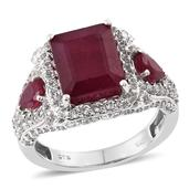 Niassa Ruby, White Topaz Platinum Over Sterling Silver Ring (Size 9.0) TGW 11.350 cts.